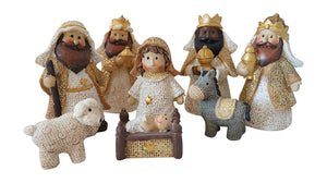 Ivory and Gold Glittered Burlap Baby Christmas Nativity Scene, Set of 8 Rearrangeable Figures