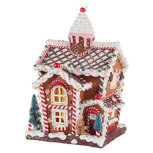 14-Inch Whimsical Lighted Ice Cream Gingerbread House – Tabletop Christmas Decoration