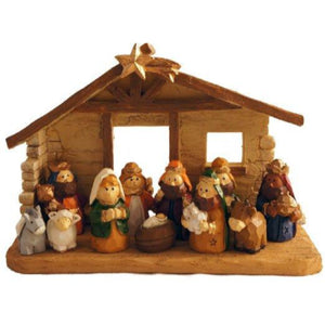 Miniature Kids Christmas Nativity Scene with Creche, Set of 12 Rearrangeable Figures