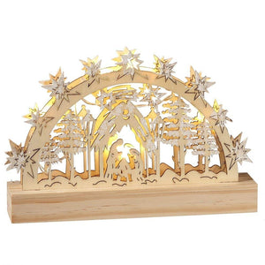 Lighted LED Small Wooden Holiday Nativity Scene Tabletop Christmas Decoration