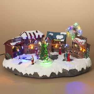 Animated Musical Christmas Village Town Square with Lights and Rotating Tree - Animated Holiday Decoration