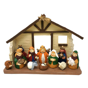 One Holiday Lane Larger Kids Christmas Nativity Scene with Creche, Set of 12 Rearrangeable Figures