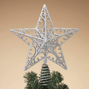 Sparkling Silver Glitter Star Tree Top Decoration - Christmas Tree Topper Holiday Ornament