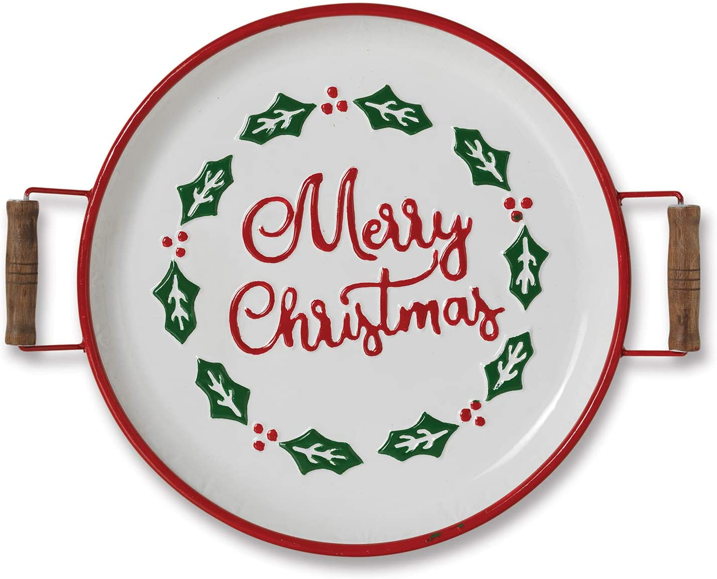 16 3 Inch Rustic Metal Merry Christmas Holly And Berry Decorative Serv One Holiday Way