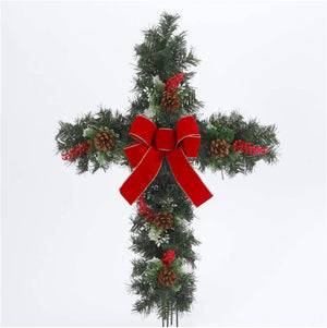 24-Inch Pinecone, Holly, and Berry Christmas Cross with Yard Stake - Holiday Front Yard Decoration - Christian Religious Outdoor Decor