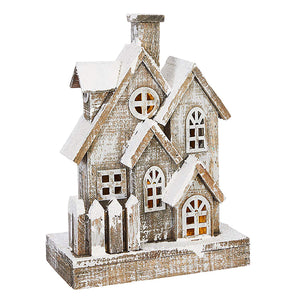 13-Inch Rustic Snowy Light Up Wood House – Tabletop Christmas Decoration