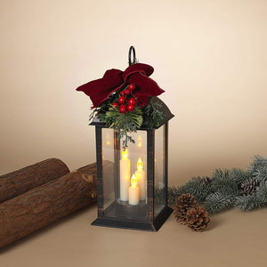 Lighted Bronze-Look Christmas Lantern with LED Candles and Greenery - Tabletop Holiday Decoration