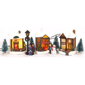 Miniature Lighted 10-Piece Christmas Village Scenes - Tabletop Holiday Decorations