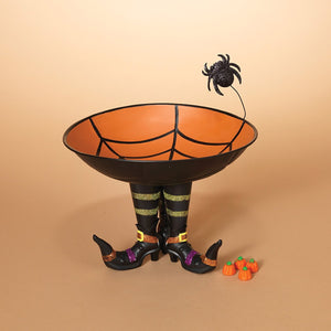 Metal Halloween Candy Bowl with Spider Web on Witch Boots - Halloween Decoration Candy Dish