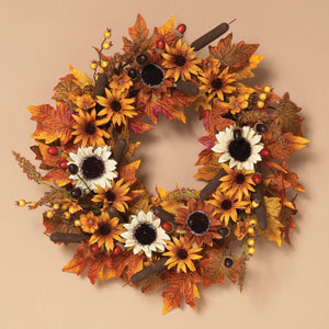 24-Inch Traditional Autumn Harvest Wreath with Flowers, Cattails and Berries - Hanging Fall Door Decoration