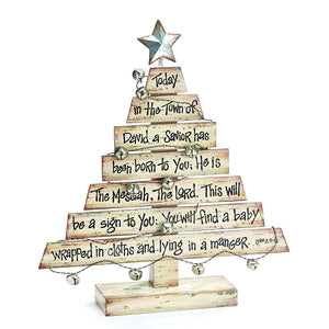 Rustic Wooden Plank Christmas Tree with Christmas Story Tabletop Holiday Decoration