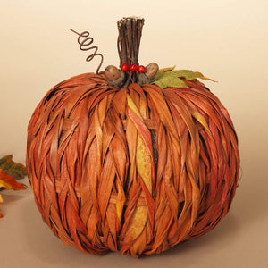 Raffia Textured Rustic Orange Harvest Pumpkin Autumn Decor - Tabletop Fall Decoration