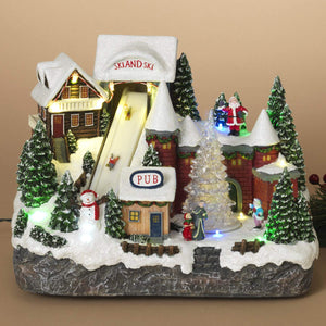 Animated Musical Christmas Ski Village with Lights and Rotating Tree - Animated Holiday Decoration