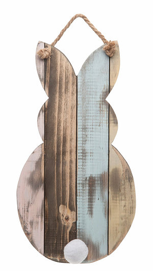 Rustic Wood Easter Bunny Silhouette with Pom Pom Tail Hanging Wall Decor - Spring Decoration