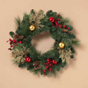 Green Pine Christmas Wreath with Pinecones, Ornaments, and Berries - Hanging Holiday Decoration