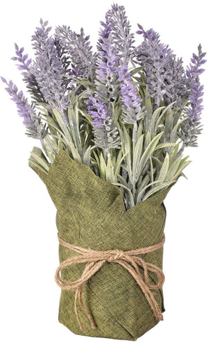 12-Inch Rustic Faux Lavender Flower Arrangement Wrapped in Green Burlap with Twine Bow – Tabletop Spring Decoration – Country Farmhouse Home Decor