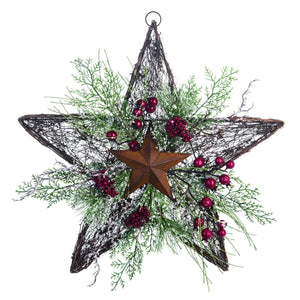 16-Inch Rustic Twig Star Christmas Wreath – Hanging Holiday Decoration (Vines)