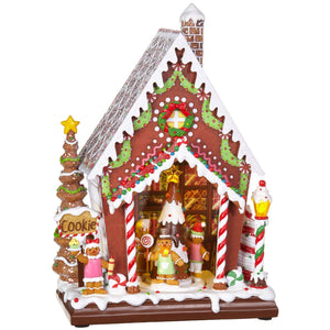 12.5 Inch Animated Musical Gingerbread House Cookie Store Christmas Decor - Tabletop Holiday Decoration