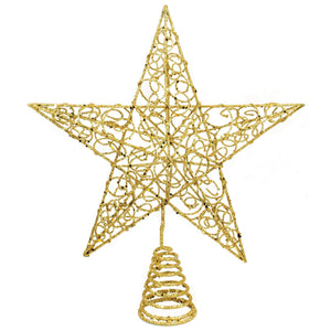 Gold Glitter Star Christmas Tree Topper - Tree Ornament Holiday Decoration