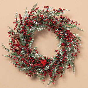 Holiday Red Berry and Snowy Greenery Wreath with Cardinal for Front Door - Hanging Christmas Decoration