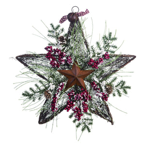 16-Inch Rustic Twig Star Christmas Wreath – Hanging Holiday Decoration (Berries)