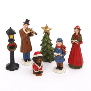 Miniature Traditional Holiday Caroler Figurines with Christmas Tree, Set of 6 - Tabletop Holiday Decoration