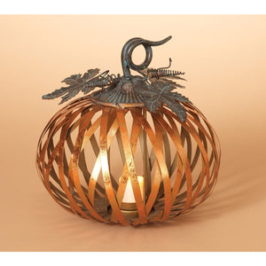 Metal Harvest Pumpkin Candle Holder with Metallic Copper Finish - Tabletop Fall Candle Holder Decoration