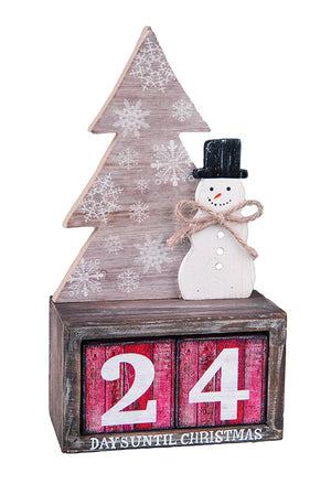 Rustic Wood Snowman and Tree Advent Countdown Calendar - Tabletop Christmas Countdown with Number Blocks Decoration