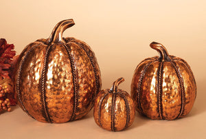 Set of 3 Metallic Copper Finish Fall Pumpkins - Tabletop Gourds Autumn Decorations
