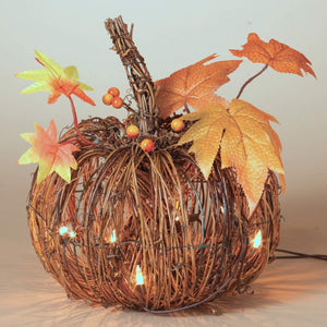 24-Inch Whimsical Harvest Pumpkin and Pinecone Wreath with Berry Accent – Hanging Fall