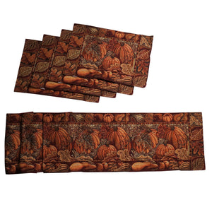 Harvest Pumpkin Tapestry Table Runner and Placemats, Set of 5