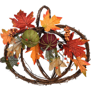 Natural Twig Harvest Pumpkin Wreath with Autumn Leaves and Pumpkins - Wall Hanging Fall Decoration