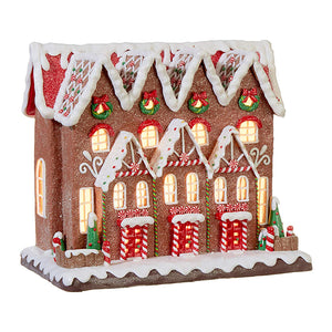 12-Inch Whimsical Lighted Gingerbread Town House – Tabletop Christmas Decoration