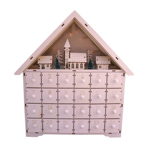 LED Lighted White Wooden Bavarian Village Scene Advent Calendar - Christmas Decoration with 24 Storage Drawers