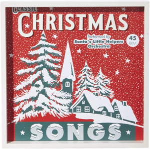 Vintage Christmas Songs Holiday Record Wall Art – Retro Hanging Decorative Sign for Home Decor
