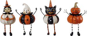 Vintage Pumpkin-Shaped Halloween Figures Shelf Sitter Decoration, Set of 4