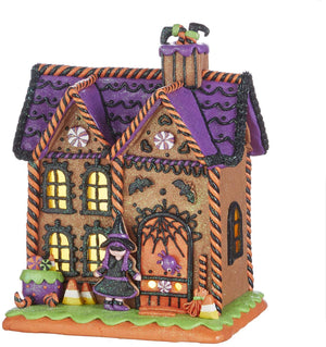 10 Inch Spooky Light Up Haunted Gingerbread House – Halloween Village Tabletop Decoration