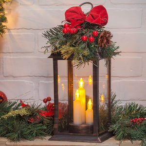 Lighted Bronze Christmas Lantern with LED Candles and Greenery - Tabletop Holiday Decoration