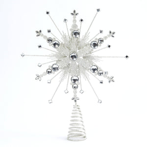Glittered Silver Christmas Tree Topper Starburst - Tree Ornament Holiday Decoration