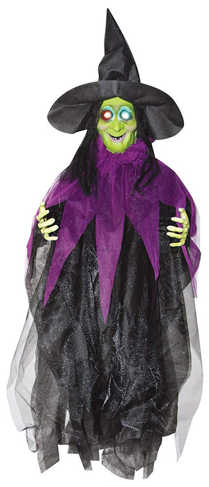 Talking Color-Changing Lighted Hanging Witch Halloween Decoration