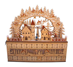 Lighted Wooden Bavarian Village Scene Advent Calendar - Christmas Decoration with 24 Storage Drawers