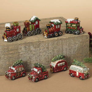 Set of 8 Red Vintage Holiday Vehicles in Gift Box - Tabletop Christmas Decoration