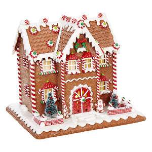 10-Inch Whimsical Lighted Christmas Gingerbread House – Tabletop Christmas Decoration