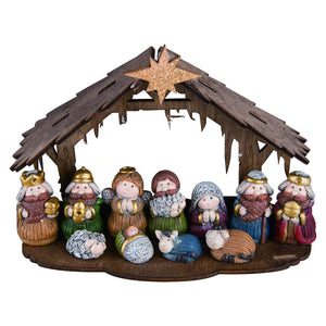 Adorable Kids Mini Christmas Nativity Set with Wooden Creche – Tabletop Nativity Decoration