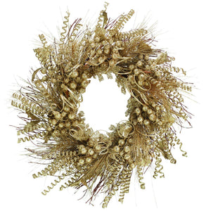 27 Inch Champagne Gold Glitter Christmas Wreath for Front Door - Hanging Holiday Decoration