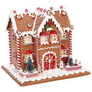 10 Inch Lighted Colorful Gingerbread House Holiday Decoration - Tabletop Christmas Decoration