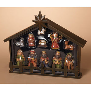 Kid Friendly Christmas Nativity Set with Metal Creche - 11-Piece Tabletop Holiday Decoration