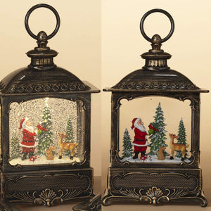 10-Inch Lighted Christmas Water Lantern with Santa and Woodland Forest Figurines – Holiday Snow Globe Decoration – Light Up Hanging or Tabletop Home Decor