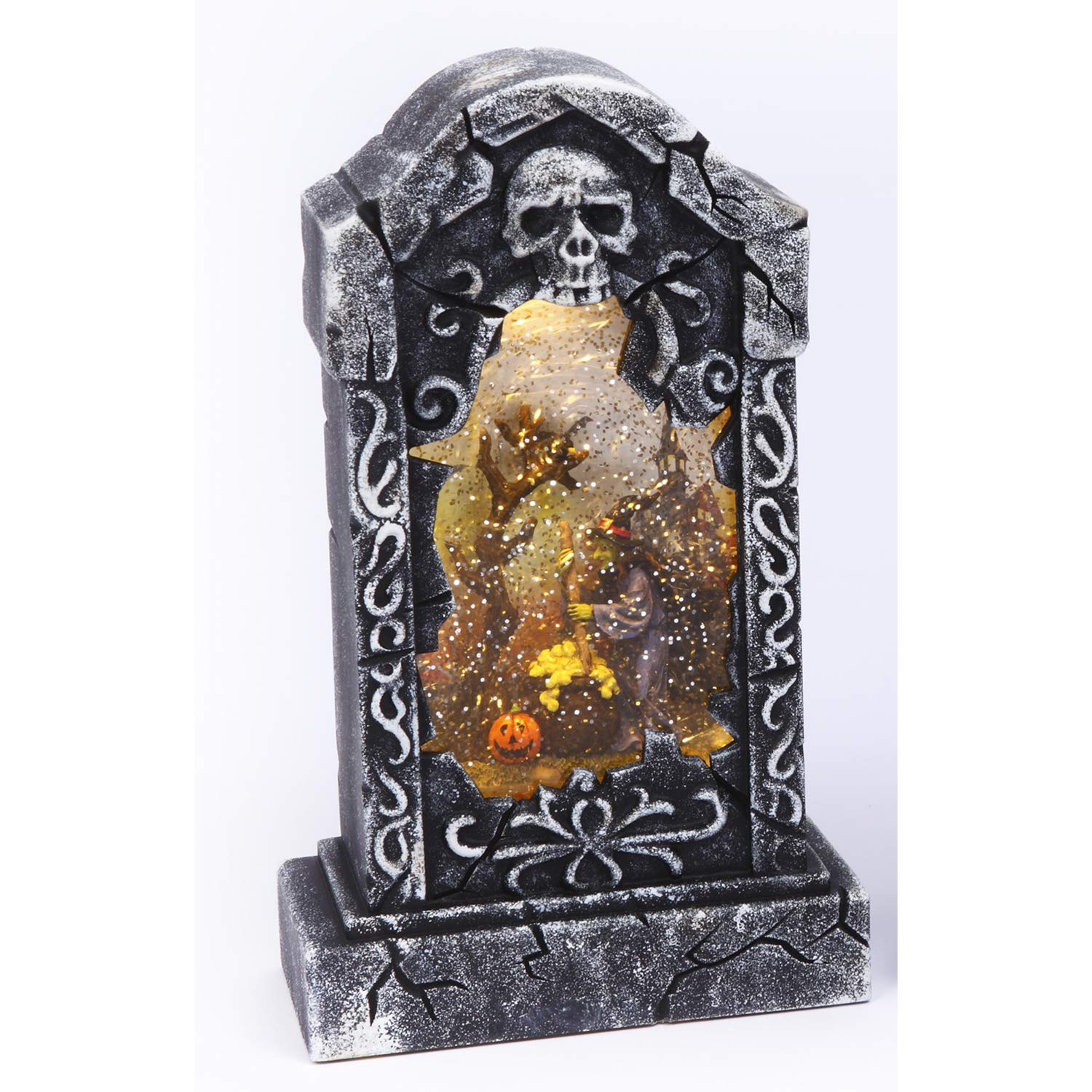 Spooky Light Up Animated Tombstone Water Globe with Spinning Halloween Figures – Tabletop Halloween Decoration Witch