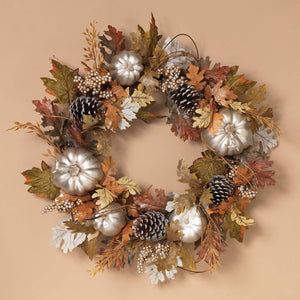 24-Inch Traditional Silver Harvest Pumpkin and Pinecone Autumn Wreath - Hanging Fall Decoration